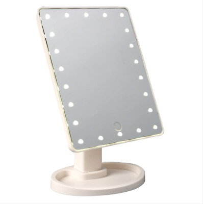 Touch Screen Mirror 22-LEDs Make-Up Cosmetic Powerful Light Tabletop Women Girls