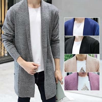 MENS SLIM FIT Knitted Cardigan Sweater Long Sleeve Casual