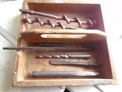 vintage wooden box/tray with tools. drills files punches. collectable diy.