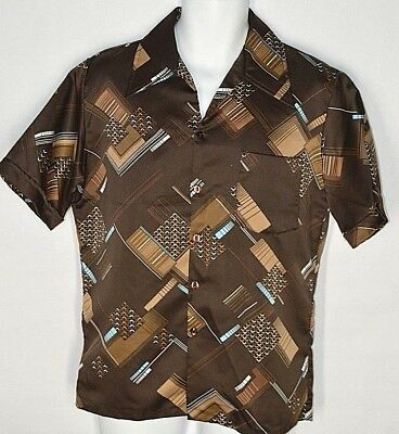 Vintage Mens 70s Shirt Size Medium VICTORY of California Geometric Brown