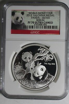 2013 Silver Panda Ngc Pf 70 Ultra Cameo Berlin World Money Fair 1 Oz #95