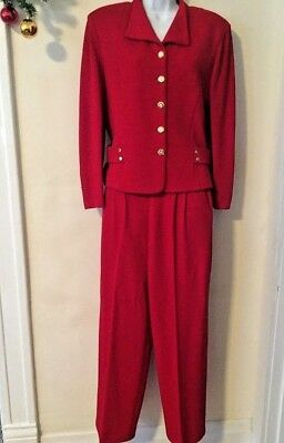 ST JOHN by MARIE GRAY 2 pc Red KNIT JACKET w/PANT SUIT SIZE 8