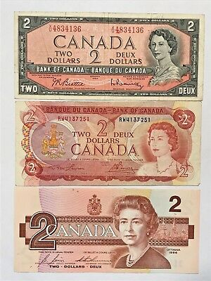 1954, 1974, 1986 Canada Two Dollar $2 Bill Lot Of 3 -- #162