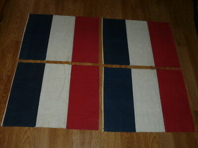 4 Vintage 1960's FRANCE Fabric Flags 17''½ x 13''½ (inches)