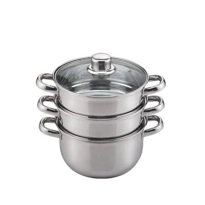 3 Tier Steamer Induction Pan Stainless Steel Saucepans 18cm
