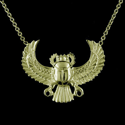 14K Yellow Gold Egyptian Spiritual Scarab Scarabeaus Amulet Necklace Pendant