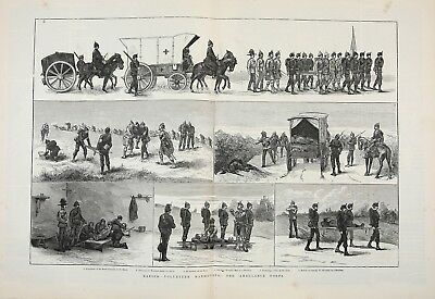 Paramedics British Ambulance Corps Red Cross, Huge 2X-Folio 1880s Antique Print