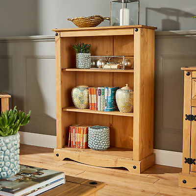 Pine Bookcase Small Mexican Style Corona 3 Book Shelves Waxed Solid Wood