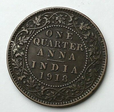 Dated : 1918 - Copper Coin - India - One Quarter Anna - King George V