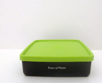 Tupperware New Black Square away Sandwich Keeper w/ Green Seal