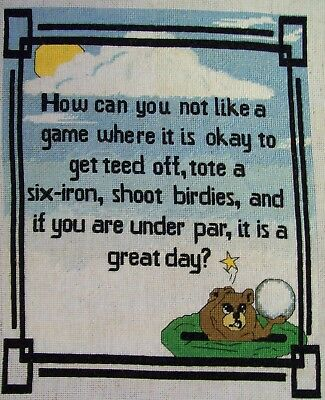 "Finished unframed Counted Cross Stitch Gopher Golf 8.5"" x10.5"""
