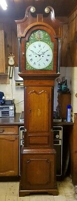 A Lovely Georgian Oak, Mahogany & Inlaid Longcase Grandfather Clock C1800