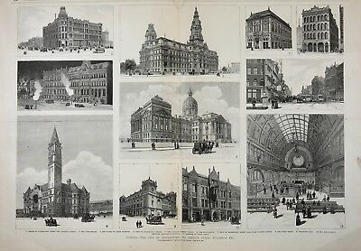 Indiana Huge Double-Folio 1880s Frameable Antique Print & Article, Indianapolis