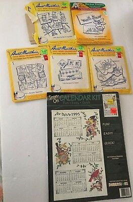Aunt Martha's Hot Iron Transfers - embroidery, needlepoint, painting - Lot of 5