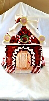 Gingerbread House Ceramic Cookie Jar Cottage Christmas Decor