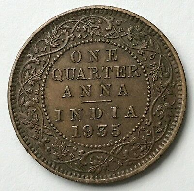 Dated : 1935 - Copper Coin - India - One Quarter Anna - King George V