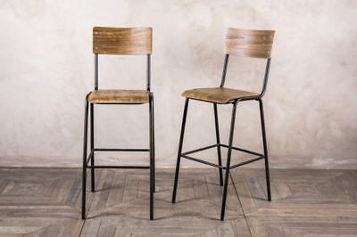 Vintage Style School Stool Wooden Seat Bar Stool Modern Stool