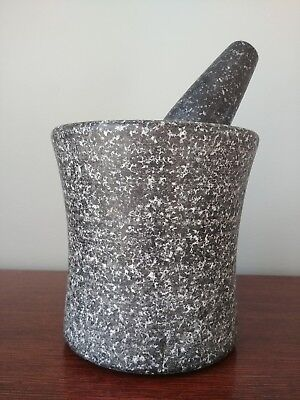 LARGE Mortar And Pestle Granite Stone Set 12 lbs 6 inches high 3 1/2 inch bowl