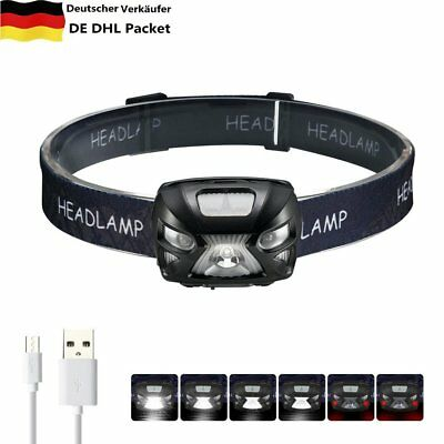 USB Wiederaufladbar LED Stirnlampe Kopflampe Headlight Jogging Lamp Stirnleuchte