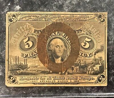 1863 5c FIVE CENT U.S. FRACTIONAL CURRENCY NOTE OVERPRINT ~ GOOD CONDITION! NR!
