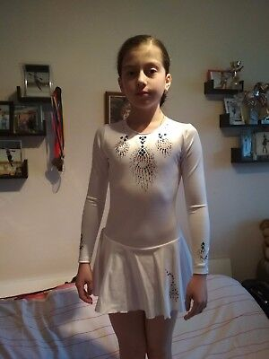 White Ice skating dress with decorations 9-10 yrs.