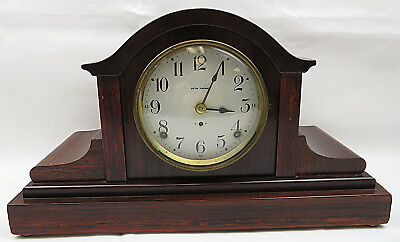 Antique SETH THOMAS Wooden Mantel Clock w/ Dial & Key Mid Century Danish Design