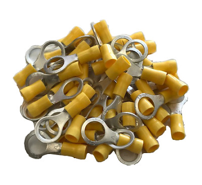 100x M10 YELLOW RING TERMINALS INSULATED CONNECTORS ELECTRICAL CRIMP T3R10 CTIE