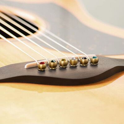 Guitar Bridge Pins for Acoustic Classical Guitar Brass with Colourful Crystal