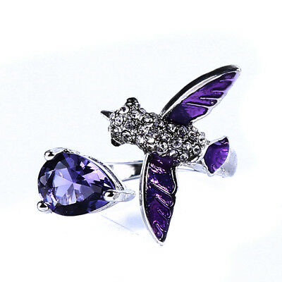 Small Bird Shape Live Mouth Adjustment Ring Purple Water Drop Zircon Ring RD