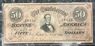 1864 $50 Confederate States Of America Csa Note In Good Condition! Nr!