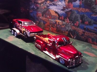 1:24 Scale Diecast(3 pc.Set) Red,1951 Chevy pickup,Red,1969 Camaro & Car trailer