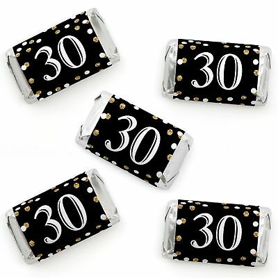 Adult 30th Birthday Gold Mini Candy Bar Wrappers Party Favors 40 Count