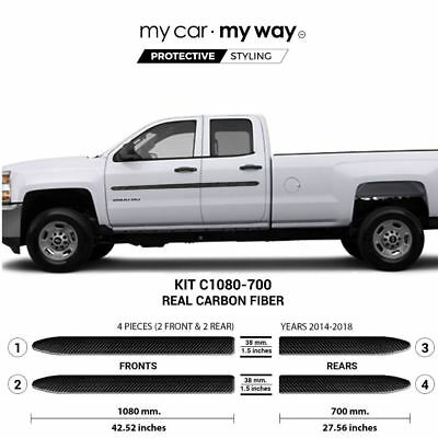 (Fits) Chevrolet Silverado-2500HD-3500HD 2014-2018 8' BOX 4dr Double Real Carbon