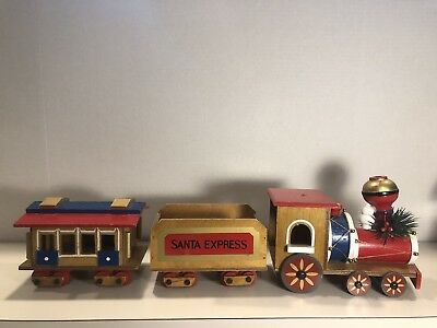 Vintage Santa Wooden Santa express Train Christmas 3 Piece Large
