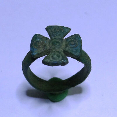 Medieval Ancient Artifact Bronze Ring With Cross