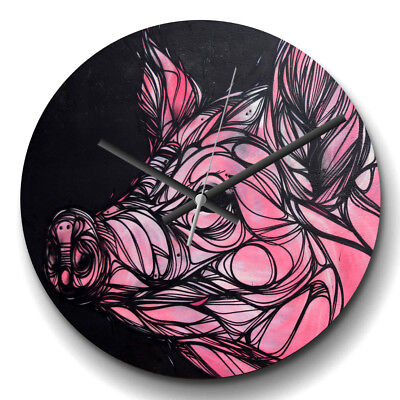 Large Wall Clock Silent 32cm Modern Home Decor Pig Artwork Animal
