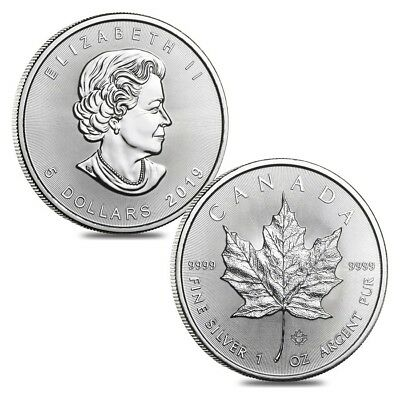 Lot of 2 - 2019 1 oz Canadian Silver Maple Leaf .9999 Fine $5 Coin BU
