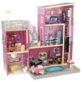 Kidkraft Girls Uptown Dollhouse With Furniture- Pretend Play - Free Shipping