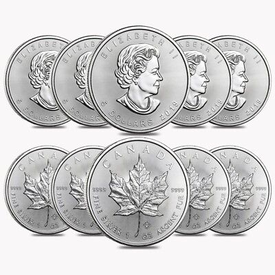 Lot of 10 - 2019 1 oz Canadian Silver Maple Leaf .9999 Fine $5 Coin BU