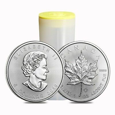 Roll of 25 - 2019 1 oz Canadian Silver Maple Leaf .9999 Fine $5 Coin BU