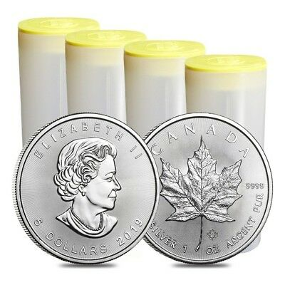 Lot of 100 - 2019 1 oz Canadian Silver Maple Leaf .9999 Fine $5 Coin BU (4