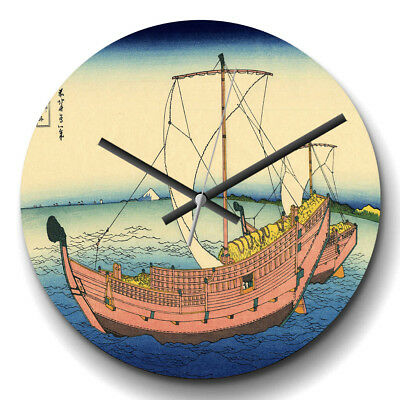 Large Wall Clock Silent Hokusai Japanese Oriental The Kazusa Sea Route Asian
