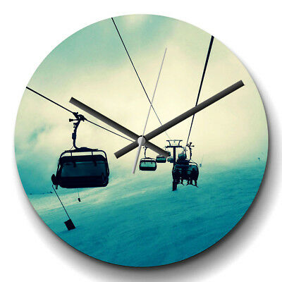 Large Wall Clock Silent 32cm Home Decor Ski Lift Skiing Snowboarding Sport
