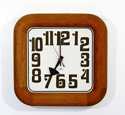 Mid Century Modern George Nelson Howard Miller Square Wooden Wall Clock 1960s