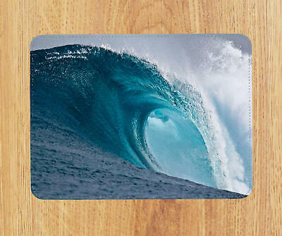 Dark blue wave Leather Mouse mat PC Pad D2