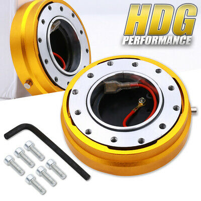 Thin Slim Short Quick Release Steering Wheel Push Button Release Gold 6-Bolt