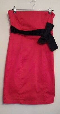 Ref 339 - QUIZ - Ladies Womens Girls Lovely Red & Black Strapless Dress Size 14