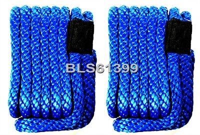 """Set of (2) Blue Solid Braided MFP 3/8"""" in x 15' ft Boat Marine Dock Line Ropes"""
