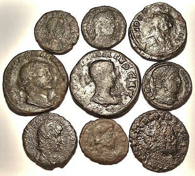 Lot of 9 Æ1-3 Ancient Roman Bronze Coins