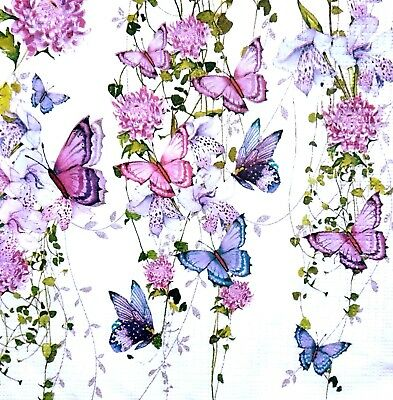 4 Lunch Paper Napkins for Decoupage Party Table Vintage Butterflies Rainbow